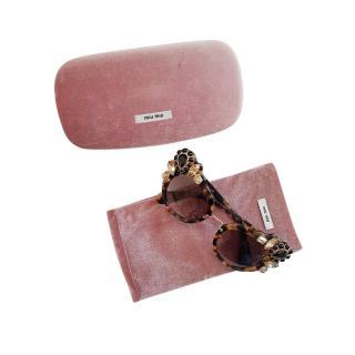 Miu Miu Crystal Embellished Tortoiseshell Sunglasses