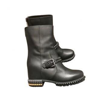 Fendi Black Leather Studded Boots