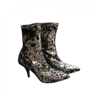 Valentino Stretch Sequin Ankle Boots