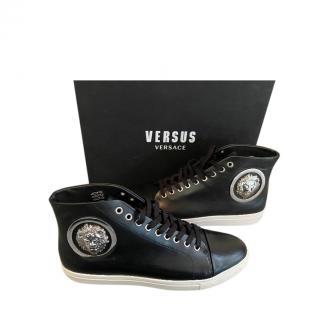 Versus Versace Black Leather Lion Head trainers