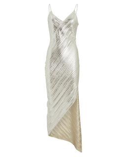 David Koma Lame Asymmetric Slip Dress