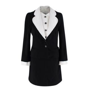 Chanel Black Wool Crepe Removable White Collar Jacket & Skirt Suit Set