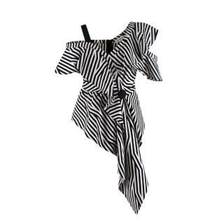 Self Portrait Black & White Striped Asymmetric Draped Top