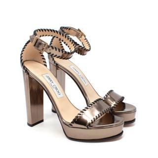 Jimmy Choo Holly Metallic Gold Whipstitch Block Heel Sandal