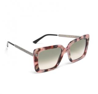 Gucci Pink Havana Square Oversize Sunglasses