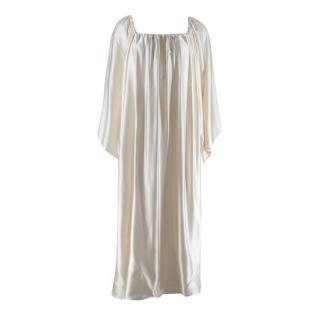 Henriette Von Gruenberg Bettina Silk Satin Low Back Draped Gown