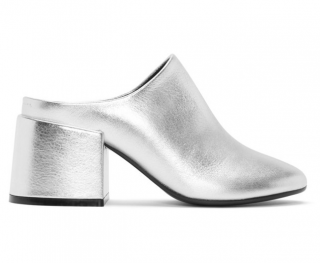 MM6 Maison Margiela Silver Metalilc Leather Mules