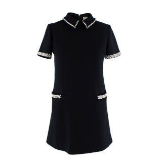 Saint Laurent Crystal Embellished Black Wool Mini Shift Dress