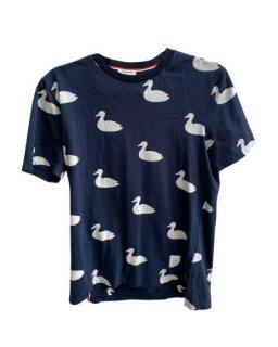 Thom Browne Navy Duck Print T-Shirt