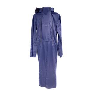 Fendi Blue Fur Trimmed One Piece Ski Suit