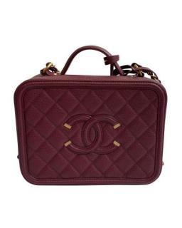 Chanel Burgundy Filigree Vanity Case