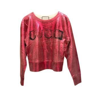 Gucci ivory/metallic pink blind for love sweatshirt