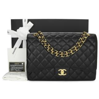 Chanel Black Caviar Leather Maxi Double Flap Bag