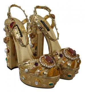 Dolce & Gabbana Gold Embellished Platform Sandals