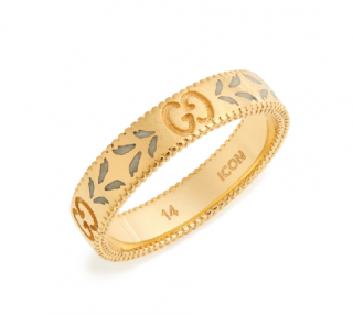 Gucci Yellow Gold Icon Thin Band Ring - Size 14