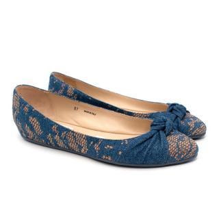Jimmy Choo Blue Denim Snakeskin Effect Bow Toe Ballet Flats