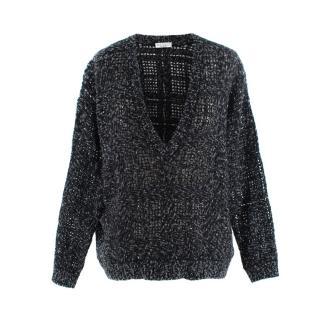 Brunello Cucinelli Grey Marl Micro Sequin Cashmere Sweater