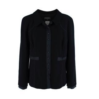 Chanel Wool Crepe Satin Trimmed Jacket