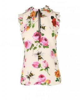 Gucci Rose Print Silk Blouse