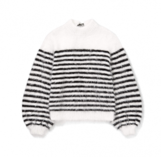 Alan Black & White Striped Angora Wool Jumper