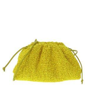 Bottega Veneta Yellow The Mini Pouch Raffia Crossbody Bag