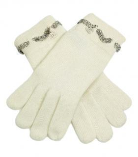 Chanel Chain Trim Cashmere CC Cream Gloves