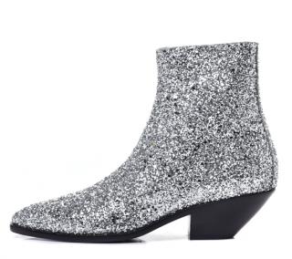Saint Laurent Silver Glitter West 45 Ankle Boots