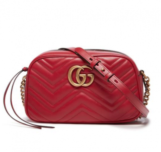 Gucci Red GG Marmont Small quilted leather camera bag