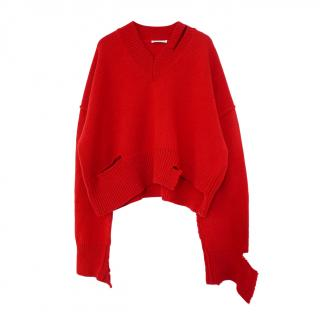 Celine by Phoebe Philo Red Distressed Wool Jumper