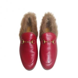 Gucci Red Fur Lined Hibiscus Jordaan Loafers