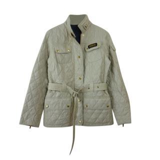 Barbour Beige Quilted Belted Jacket