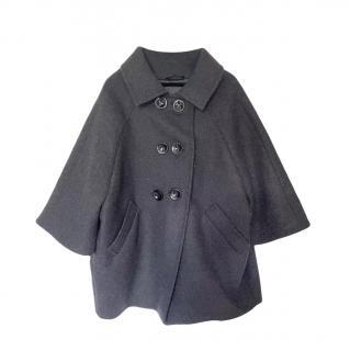 Max Mara Atelier Grey Virgin Wool Cape Coat