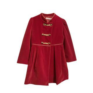 Patachou Red Velvet Dress Coat