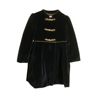 Patachou Blue Velvet Dress Coat