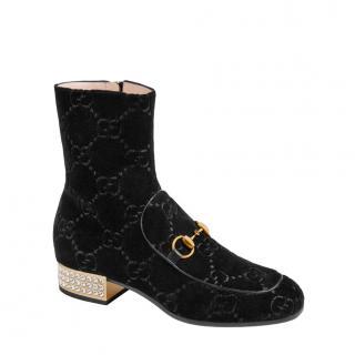 Gucci Crystal Embellished Black Velvet Horsebit Ankle Boots