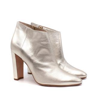 Manolo Blahnik Metallic Gold Heeled Ankle Boots