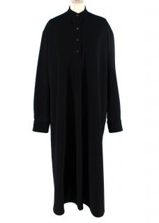 Rosetta Getty Black Crepe Twill Mandarin Collar Long Tunic Dress