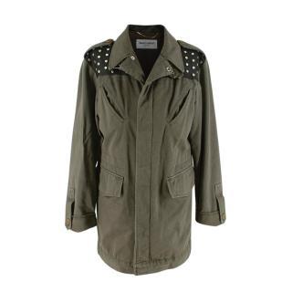 Saint Laurent Khaki Army Jacket with Leather Studded Shoulder & Back