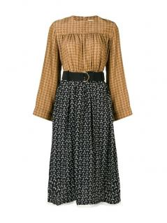 Chloe Bi-Colour Printed Silk Midi Dress