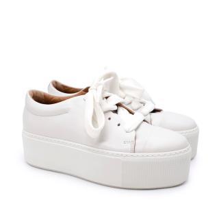 Acne Studios Drihanna White Leather Platform Trainers