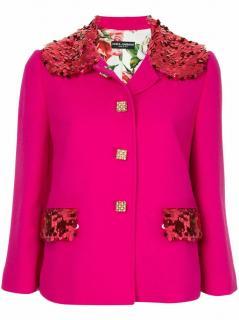 Dolce & Gabbana Pink Embellished Collar Jacket