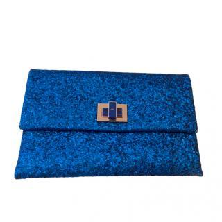 Anya Hindmarch Blue Glitter Small Clutch