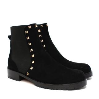Valentino Garavani Rockstud Black Suede Chelsea Boots