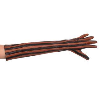 Bottega Veneta Tan & Black Striped Leather Long Gloves - Size 65