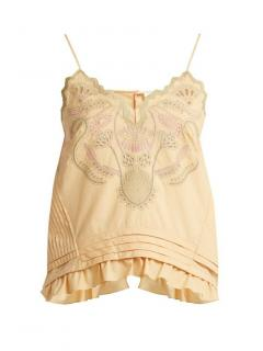 Chloe Embroidered Button Back Cami Top