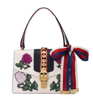 Gucci White Embroidered Sylvie Shoulder Bag