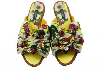Dolce & Gabbana Crystal Floral Pleated Slides