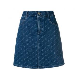 Stella McCartney Denim Logo Print A-Line Mini Skirt