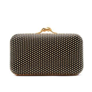 Alexander McQueen Black Leather Studded Skull Clasp Clutch Bag