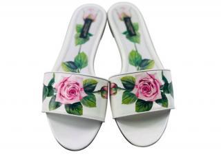 Dolce & Gabbana White Rose Print Slides